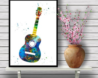 Colorful Acoustic Guitar, Watercolor Instrument Wall Hanging, Music Home Decoration, gift, Instant Download (392)