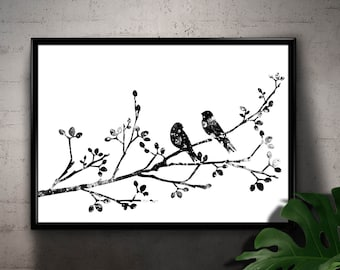 Black and White Birds on a Branch of a Flowering Tree, Nature, Spring Themed Home Decoration, Printable Wall Art, gift Instant Download (05)