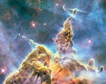 Poster of the Mystic Mountain an Area of the Carina Nebula. Captured by the Hubble Space Telescope - Landscape Version Makes a Lovely Print