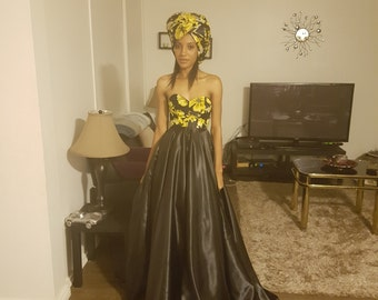 Maxi evening gown with ankara bodice. Afro-satin evening gown.