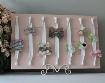 Hair Bow Holder Hair Bow Organizer Headband Holder XL Headband Organizer Pink Distressed Farmhouse Girl Nursery Decor Shower Gift