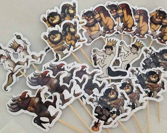 Where The Wild Things Are Cupcake Toppers Topper with stick Set of 18 Custom Made