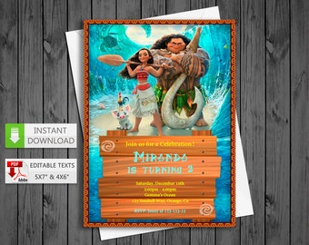 Printable invitation Moana princess in PDF with Editable Texts, Moana princess party Invitation, edit and print yourself! Instant Download!