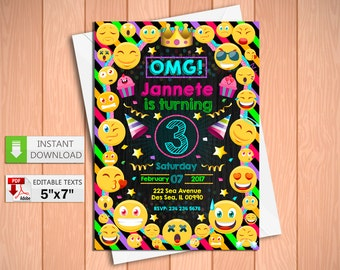 Printable invitation Emoji in PDF with Editable Texts, Emoticons Invitation Chalkboard party, edit and print yourself! Instant Download!