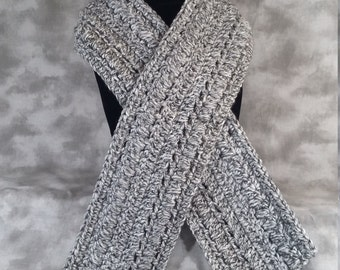 Scarf, Handmade Crochet, Charcoal Gray Tweed, Gift for Her, Acrylic Yarn, Warm and Stylish, Traditonal Scarf, Neckwarmer, Ready to Ship