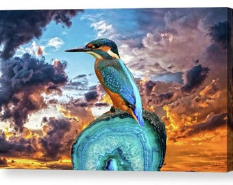 Kingfisher Dramatic Sky Photo Canvas Box Art A4, A3, A2, A1 ++