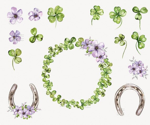 Four Leaf Watercolor Clover St Patricks Day Clipart