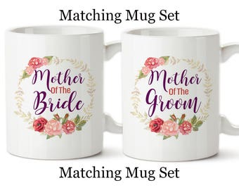 Coffee Mug, Mother Of The Bride And Mother Of The Groom Set, Wedding Party Gifts Set, Beautiful Watercolor Mugs, Floral Wedding Mugs