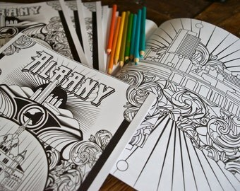 Albany NY Coloring Book - Adult Coloring Book - Albany New York - Empire State Plaza - Washington Park - Hudson River - NY Capital Paperback