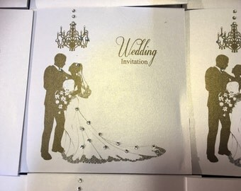 Stunning handmade diamante wedding invitations pocket folder style