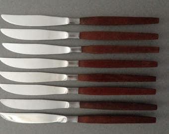 Ekco Eterna Canoe Muffin Stainless Flatware 8 Dinner Knives knife silverware