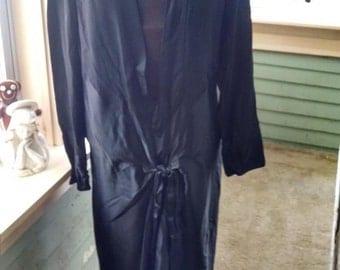Vintage Black Flapper Dress With Deep V Plunging Neck.