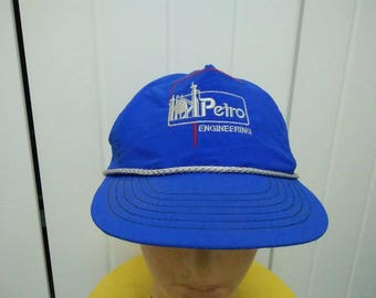 Rare Vintage PETRO ENGINEERING Neon Blue Cap Hat Free size fit all