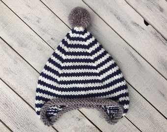 Baby Boy Earflap Hat, Striped Knit Infant Hat, Navy Blue Winter Hat for Baby Boy, Coming Home Outfit, Boy Baby Shower Gift, Newborn Knit Hat