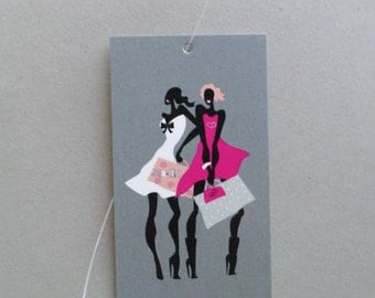 100 FASHION TAGS CLOTHING/Accessories Boutique Price Tags  Cute Fashion Girls 2 Retail Tags with  Plastic Loops