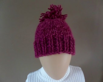 Raspberry One-of-a-Kind Hand-Knit Hat with Tassle