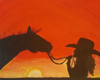 Cowgirl Art Print HORSE PRINT horse silhouette sunset silhouette clearance sunset painting horse painting cowgirl painting cowboy painting