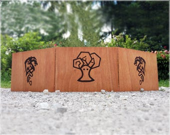 Wooden DM Screen for Tabletop Games (Dungeons and Dragons, Pathfinder Etc.) with Custom Woodburned Engraving