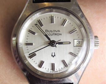 Ladies Swiss 1973 Bulova Accutron Tuning Fork Date Watch 13 J 2302 Movt for Sale