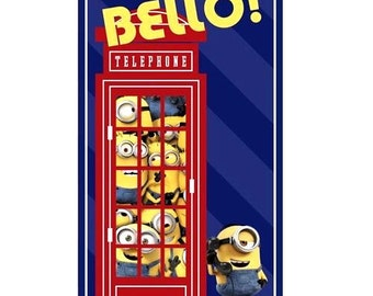 Quilting Treasures - Minions - Bello - Telephone Booth - Panel