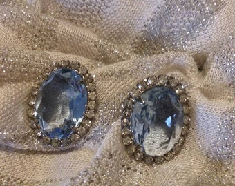 Gigantic vintage cushion cut Swiss Blue Topaz and cz post earrings