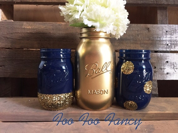Set of 3 navy blue and gold mason jar centerpieces blue and for Blue and gold bathroom sets
