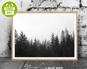 Modern Scandinavian Print, Forest Print, Landscape Prints, Digital Landscape, Nature Decor, Nature Home Decor, Nature Poster, Nature