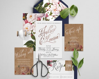 "Printable Wedding Invitation Suite ""Aurora Foil"" - Printable DIY Invite, Affordable Wedding Invitation"