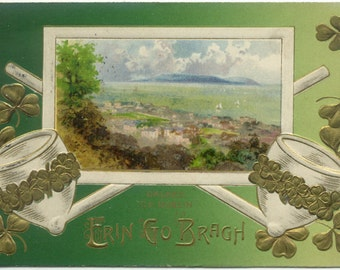 DALKEY Dublin Ireland St. Patrick's Day Clay Pipes 1914 Antique POSTCARD Post Card