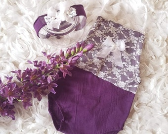 9 - 12 month lace romper, tie back, cake smash,  baby photo outfit, baby photo clothes, baby romper, baby purple romper, lace headband