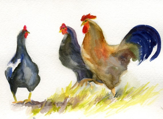 Two Black Hens - signed print - painting - watercolor - Bonnie White - gorge artist - chickens - hens - rooster - farm decor