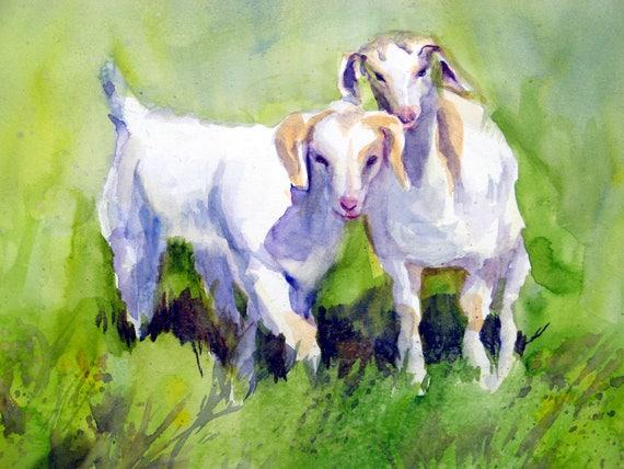 Kids - goats - baby goats - signed print - bonnie white - watercolor - b white