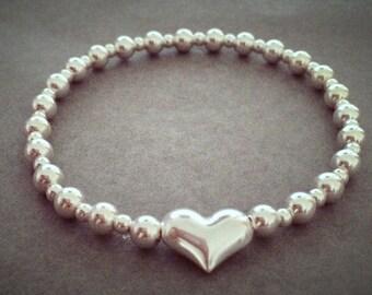Sterling Silver Large Heart Bead Bracelet