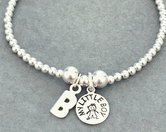Sterling Silver My Little Boy and Initial Mother's Day Charm Bracelet