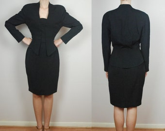 vintage THIERRY MUGLER structured skirt suit /100% wool / FR40