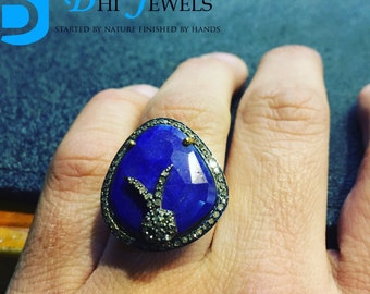 Natural Lapis Lazuli Gemstone Designer Cocktail Ring With Diamonds In Sterling Silver