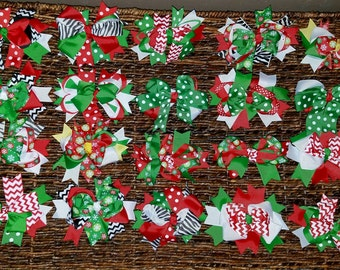 CHRISTMAS SALE!!!! Christmas/Holiday Alligator Clip Bows Different colors and designs! Buy 2, Get one Free!!!