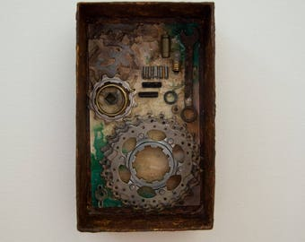 Assemblage Art Box - Assemblage Shadowbox - Recycled Assemblage - Wall Art