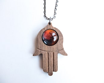 Planet Mercury Hamsa God's Hand Custom Pendant Necklace