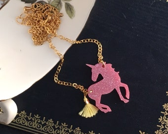 Unicorn necklace, Unicorn, Birthday Unicorn, unicorn jewellery, Reversible necklace, Acrylic glitter unicorn necklace, laser cut jewellery