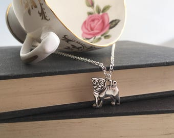 Pug Necklace, pug jewellery, pug jewelry, Pug Charm Necklace, dog necklace, pugs