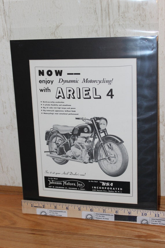 1957 Ariel Four 11'' x 14'' Matted Vintage Motorcycle Ad Art #5708amot05m