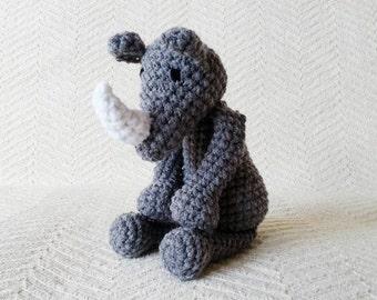 Rhino Baby Rattle/ Crochet Animal/ Amigurumi Rhino/ Plush Rhino/ Stuffed Animals for Babies/ Baby Toys/ Baby Shower Gift/ Crochet Rhino