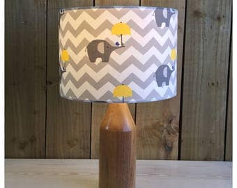 Grey Elephant  & Yellow Umbrella Lampshade  Various Sizes / Diffusers Available / Children's Blue Lampshade