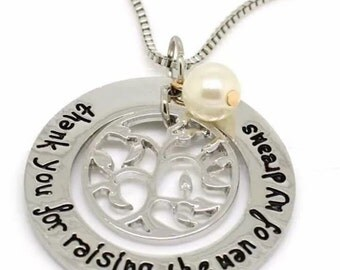 New Hand Stamped Silver Thank You For Raising The Man Of My Dreams Necklace for Mother-In-Law