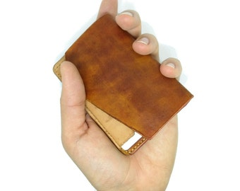 Minimalist wallet, front pocket wallet, leather wallet, card wallet, slim wallet, hand-stitched, hand-dyed, elegant