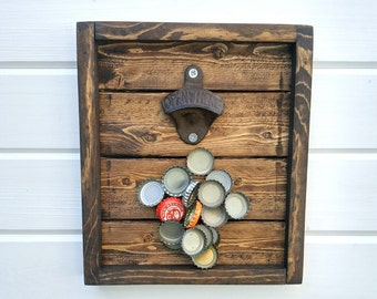 Wall Mounted Magnetic Bottle Opener - Rustic Bottle Opener