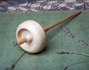 Drop Spindle | Top Whorl | Hand Crafted Drop Spindle | Hardwood | Sycamore & Ash