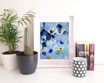 Seaside Saunterer. Small Original Abstract Painting. ModernArt. Contemporary Acrylic Painting. Blue and Yellow Art. Home Decor. Wall Art.