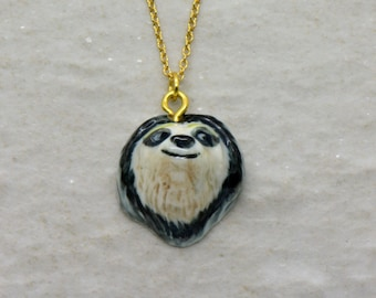 Hand Painted Porcelain Sloth Head Necklace, 18 Inch Chain, Vintage Style Sloth, Ceramic Animal Pendant FREE DOMESTIC SHIPPING ()